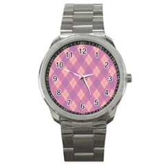 Plaid pattern Sport Metal Watch