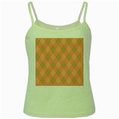 Plaid pattern Green Spaghetti Tank
