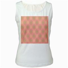 Plaid pattern Women s White Tank Top