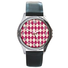 Plaid pattern Round Metal Watch