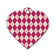 Plaid pattern Dog Tag Heart (Two Sides)