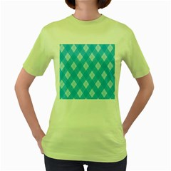 Plaid pattern Women s Green T-Shirt