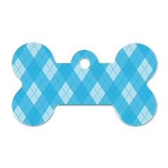 Plaid pattern Dog Tag Bone (Two Sides)