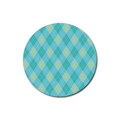 Plaid pattern Rubber Coaster (Round)