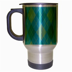 Plaid pattern Travel Mug (Silver Gray)