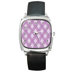 Plaid pattern Square Metal Watch