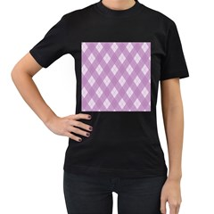 Plaid pattern Women s T-Shirt (Black) (Two Sided)
