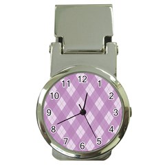 Plaid pattern Money Clip Watches