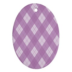 Plaid pattern Oval Ornament (Two Sides)
