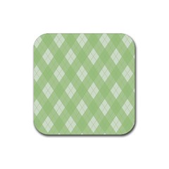 Plaid pattern Rubber Coaster (Square)