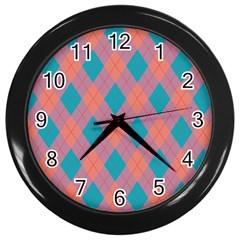 Plaid pattern Wall Clocks (Black)