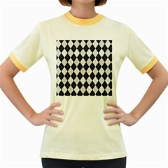 Plaid pattern Women s Fitted Ringer T-Shirts