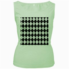 Plaid pattern Women s Green Tank Top