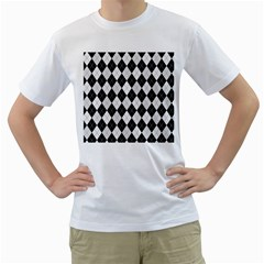 Plaid pattern Men s T-Shirt (White) (Two Sided)
