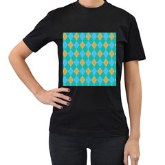 Plaid pattern Women s T-Shirt (Black)