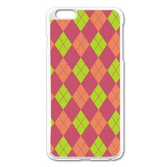 Plaid pattern Apple iPhone 6 Plus/6S Plus Enamel White Case