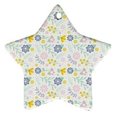 Vintage Spring Flower Pattern  Ornament (Star)