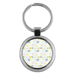 Vintage Spring Flower Pattern  Key Chains (Round)