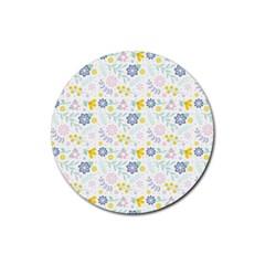 Vintage Spring Flower Pattern  Rubber Coaster (Round)