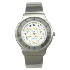 Vintage Spring Flower Pattern  Stainless Steel Watch