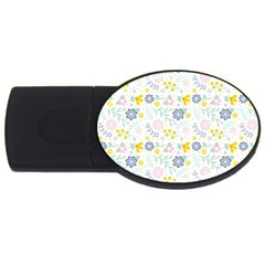 Vintage Spring Flower Pattern  USB Flash Drive Oval (4 GB)
