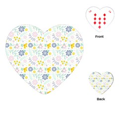 Vintage Spring Flower Pattern  Playing Cards (Heart)