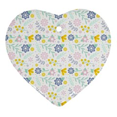 Vintage Spring Flower Pattern  Heart Ornament (Two Sides)