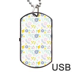 Vintage Spring Flower Pattern  Dog Tag USB Flash (Two Sides)