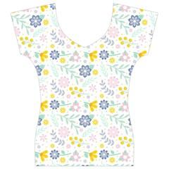 Vintage Spring Flower Pattern  Women s V-Neck Cap Sleeve Top