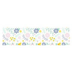Vintage Spring Flower Pattern  Satin Scarf (Oblong)