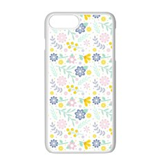 Vintage Spring Flower Pattern  Apple Iphone 7 Plus White Seamless Case