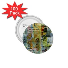 Old Newspaper And Gold Acryl Painting Collage 1.75  Buttons (100 pack)