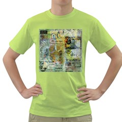 Old Newspaper And Gold Acryl Painting Collage Green T-Shirt