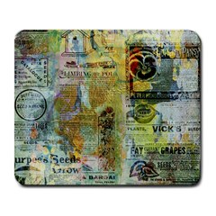 Old Newspaper And Gold Acryl Painting Collage Large Mousepads