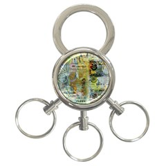 Old Newspaper And Gold Acryl Painting Collage 3 Ring Key Chains
