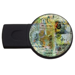 Old Newspaper And Gold Acryl Painting Collage USB Flash Drive Round (2 GB)