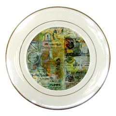 Old Newspaper And Gold Acryl Painting Collage Porcelain Plates
