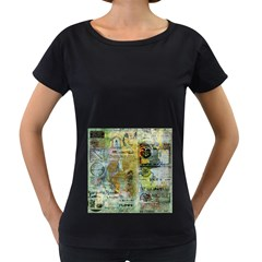 Old Newspaper And Gold Acryl Painting Collage Women s Loose-Fit T-Shirt (Black)