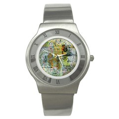 Old Newspaper And Gold Acryl Painting Collage Stainless Steel Watch