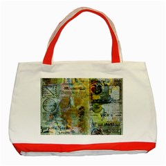 Old Newspaper And Gold Acryl Painting Collage Classic Tote Bag (Red)