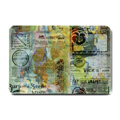 Old Newspaper And Gold Acryl Painting Collage Small Doormat
