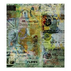 Old Newspaper And Gold Acryl Painting Collage Shower Curtain 66  x 72  (Large)