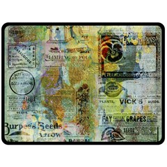 Old Newspaper And Gold Acryl Painting Collage Fleece Blanket (Large)