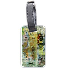 Old Newspaper And Gold Acryl Painting Collage Luggage Tags (One Side)