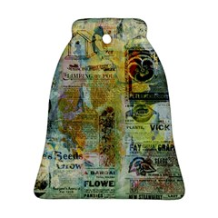 Old Newspaper And Gold Acryl Painting Collage Ornament (Bell)