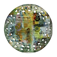 Old Newspaper And Gold Acryl Painting Collage Round Filigree Ornament (Two Sides)