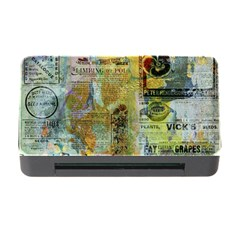 Old Newspaper And Gold Acryl Painting Collage Memory Card Reader with CF