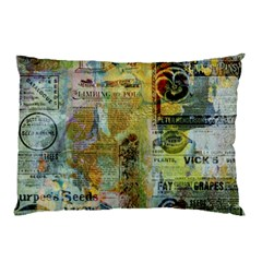 Old Newspaper And Gold Acryl Painting Collage Pillow Case (Two Sides)