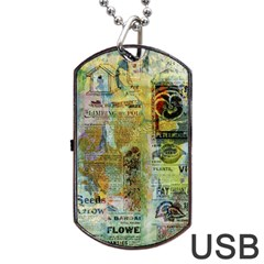 Old Newspaper And Gold Acryl Painting Collage Dog Tag USB Flash (One Side)