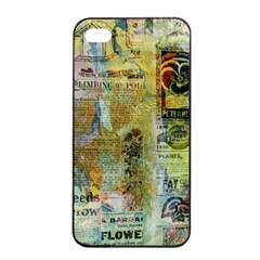 Old Newspaper And Gold Acryl Painting Collage Apple Iphone 4/4s Seamless Case (black)